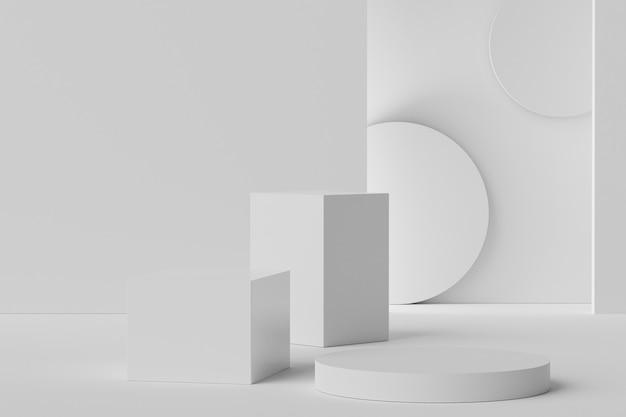 3d-scène van displays podium voor mock-up en productpresentatie met minimale witte marmeren achtergrondgeluid