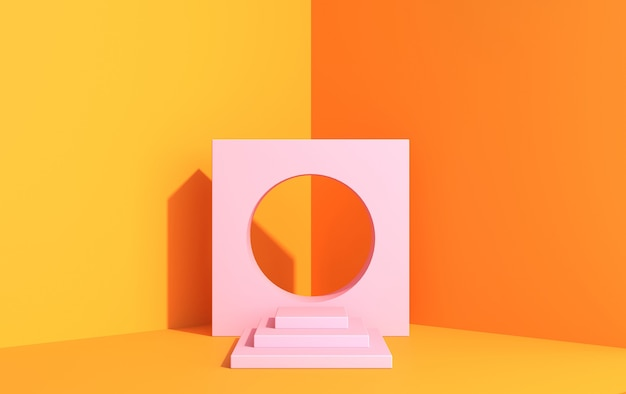 3d-scène voor productdemonstratie in art decostijl, in gele kleuren, roze platform in de hoek, 3d render