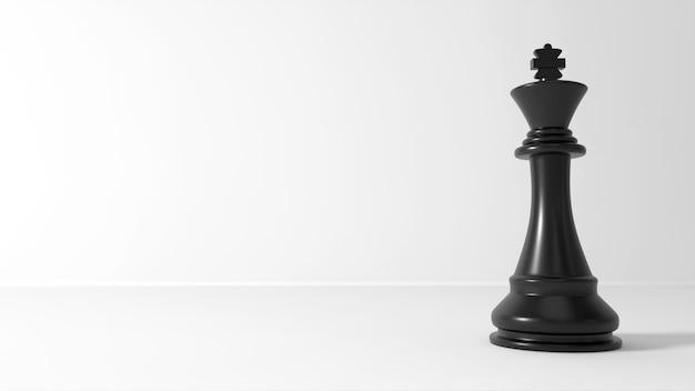 3d-scèneschaak zwart king-schaak op witte scène