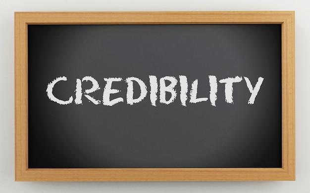 3d-schoolbord met geloofwaardigheid tekst