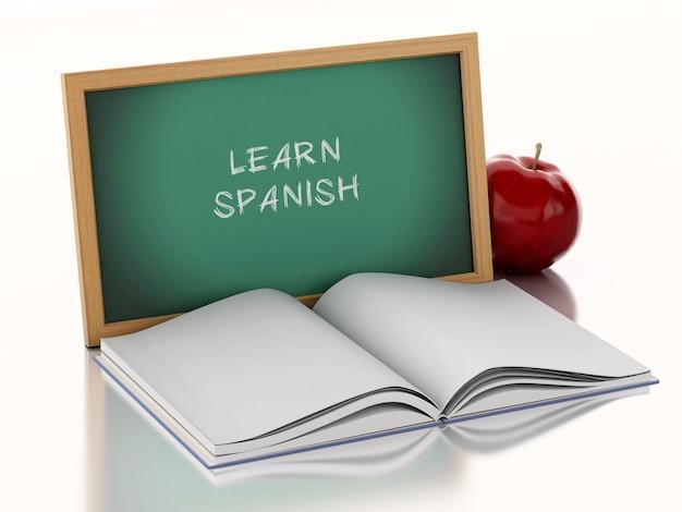 3d-schoolbord met open boek en een rode appel.