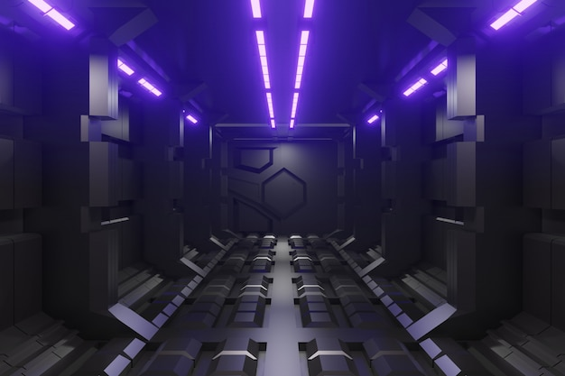 3d sci-fi futuristische gangachtergrond met violet licht.