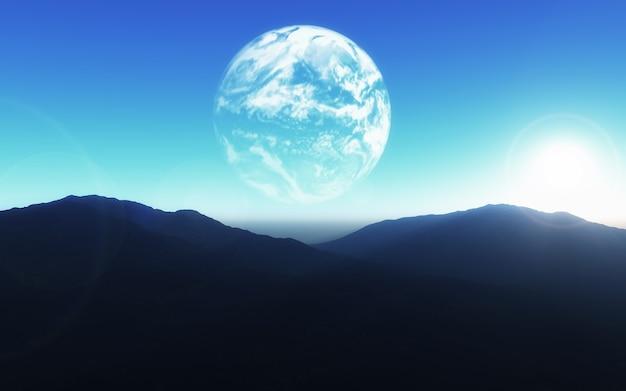 3d science fictionachtergrond met aarde over berglandschap