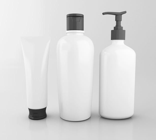 3d-set van cosmetische flessen. bespotten