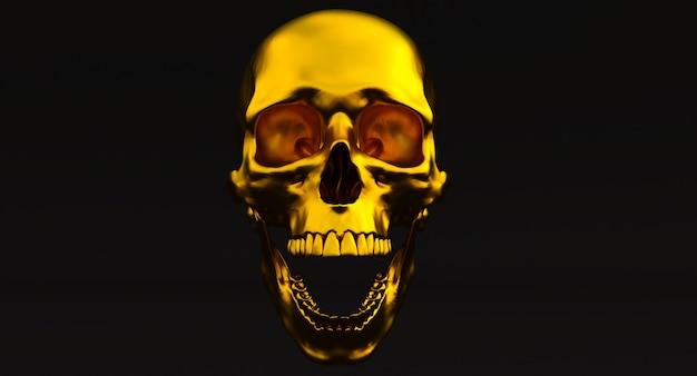 3d set van menselijke schedels geïsoleerd op blackbackground, 3d render