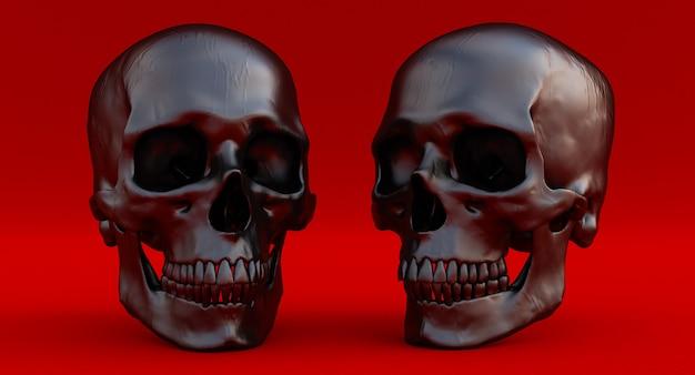 3d set van zwarte menselijke schedels geïsoleerd op rode achtergrond, 3d render