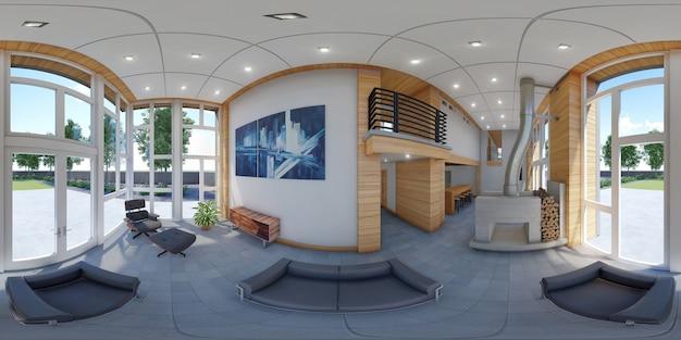 3d-sferische 360 graden, naadloos panorama van woonkamer en keuken i