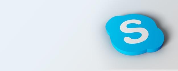 3d skype-logobanner met witte achtergrond