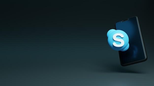 3d skype-pictogram met android-smartphone
