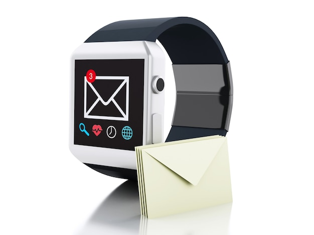 3d-slimme horloge met ongelezen berichtpictogram. technologie concept