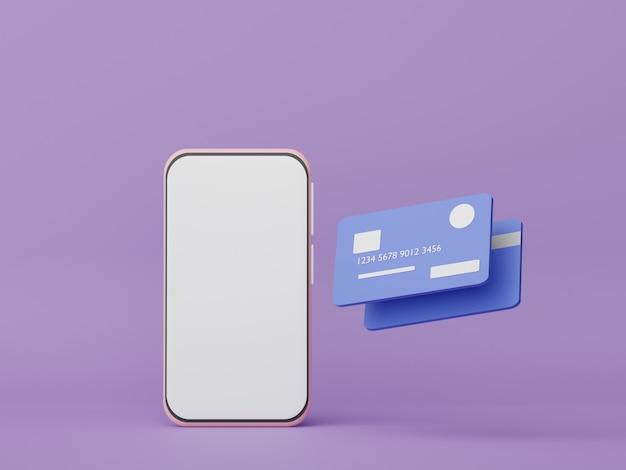 3d-smartphone met creditcards geld concepten financiële planning vermogensbeheer franchises management