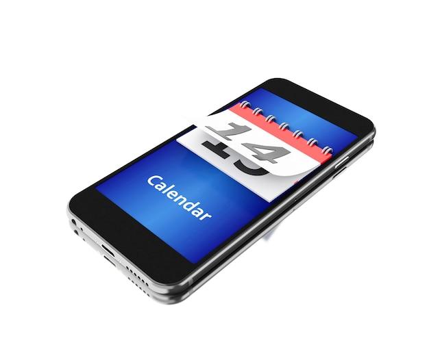 3d-smartphone met een kalender en nummer veertien.