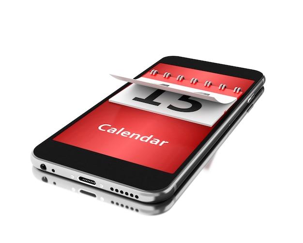 3d-smartphone met een kalender. tijd concept.