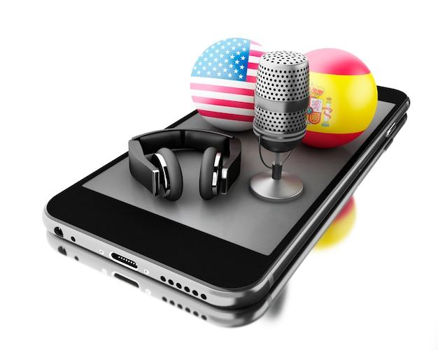 3d-smartphone met een microfoon en een koptelefoon. vertaal concept.