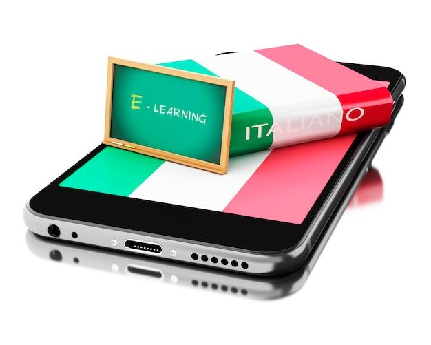 3d-smartphone met italiaans boek. talen leren.