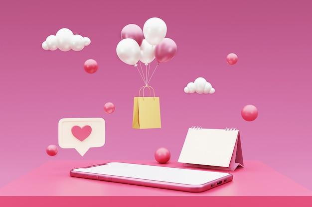 3d-smartphone met kalender, boodschappentas en ballon. 3d-weergave.