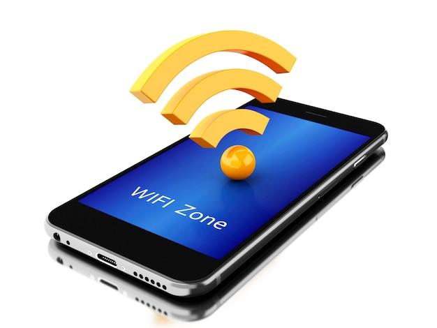 3d-smartphone met wifi-pictogram