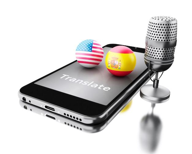 3d-smartphone met woord vertalen en een microfoon.