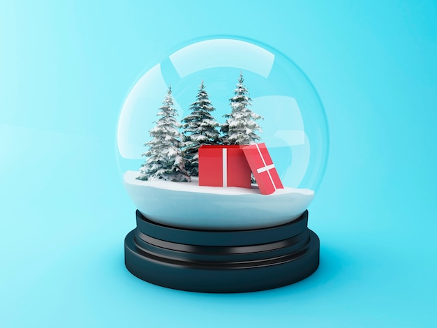 3d-sneeuw koepel met kerstcadeau.