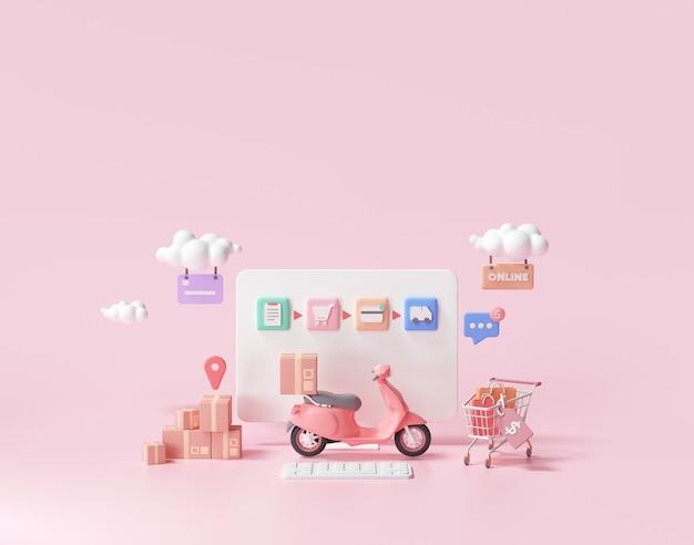 3d snelle bezorgservice, verpakking geleverd per scooterconcept, online winkelen. 3d-weergave