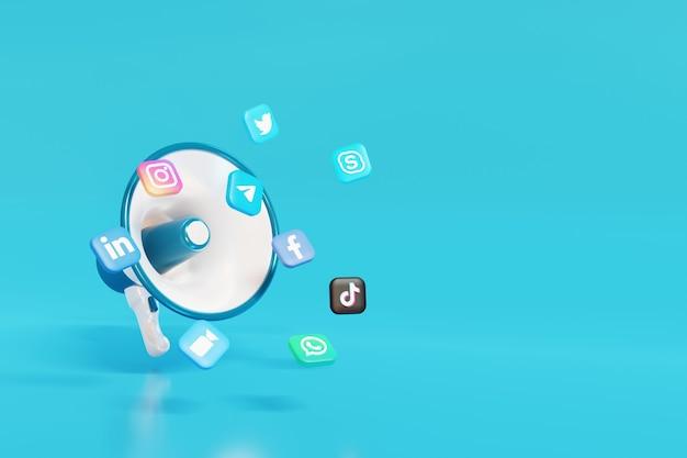 3d sociale media digitale marketing megafoon met blauwe achtergrond
