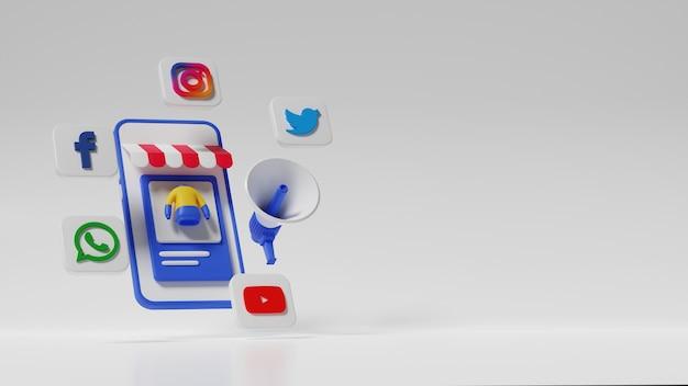 3d sociale media illustratie marketingconcept. premium foto