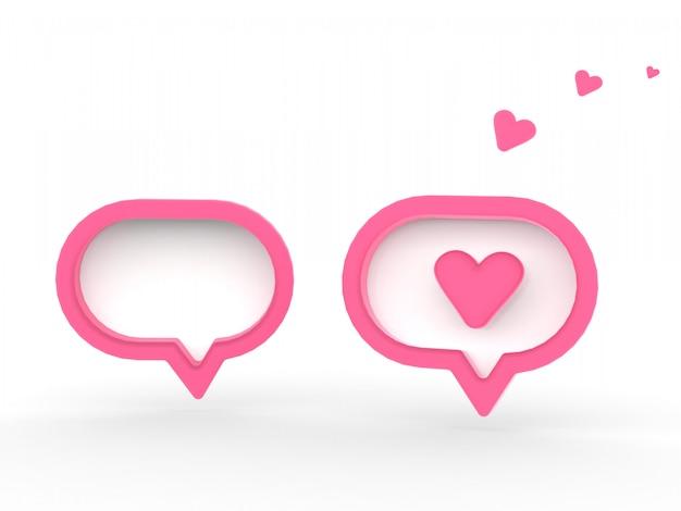 3d sociale media meldingsliefde zoals hartpictogram in rode ronde vierkante speld die op witte muurachtergrond wordt geïsoleerd