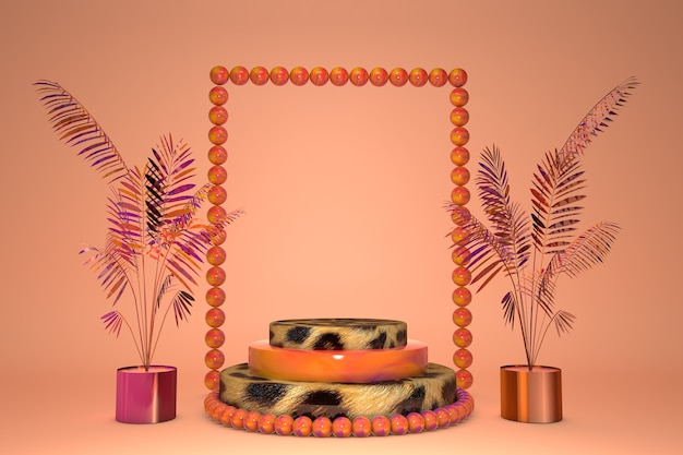 3d sokkel met oranje en luipaardprint, display met tropische palmbladeren. zomerstappodium met dierenprint. achtergrond voor schoonheidsproduct, abstracte trendy 3d render illustratie