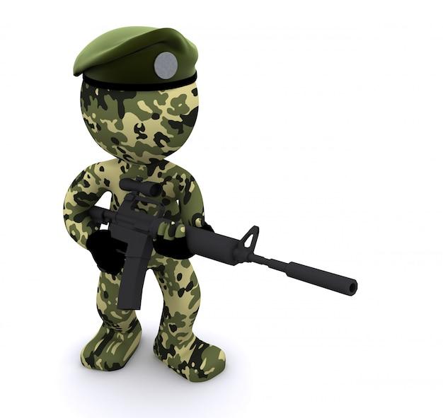 3d-soldaat getextureerde met camouflage