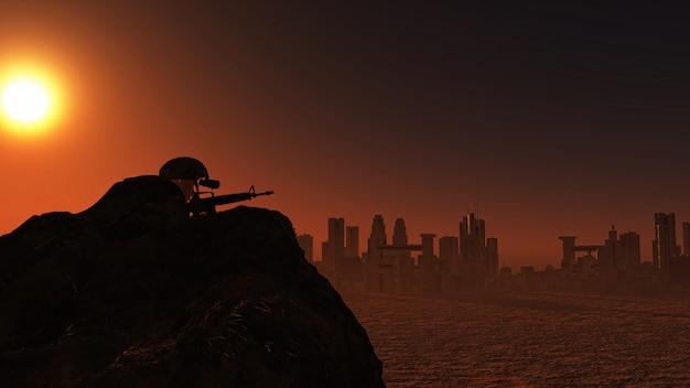 3d-soldaat waakt over stadsbeeld bij zonsondergang