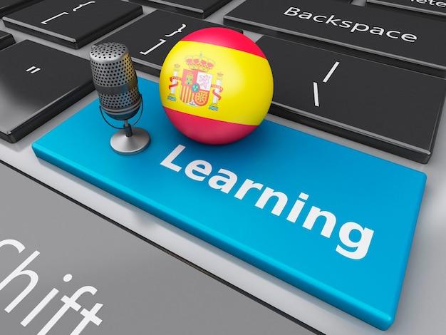 3d spaans leren op computertoetsenbord met een microfoon.