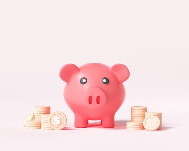 3d spaarvarken met muntstukkenstapels op roze achtergrond. financieel en bedrijfsconcept, spaarvarkenpictogram, geldbesparend. 3d render illustratie