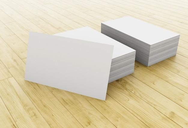 3d stack van blanco visitekaartjes op houten tafel