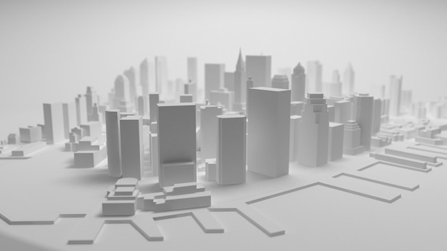 3d stadspanorama op witte achtergrond wordt geïsoleerd die