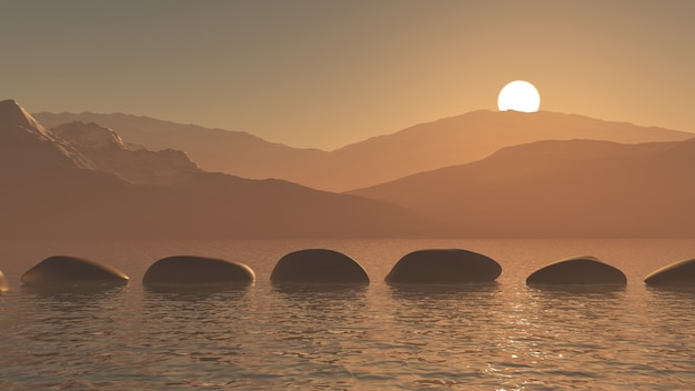 3d-stapstenen in de oceaan tegen een zonsondergang berglandschap