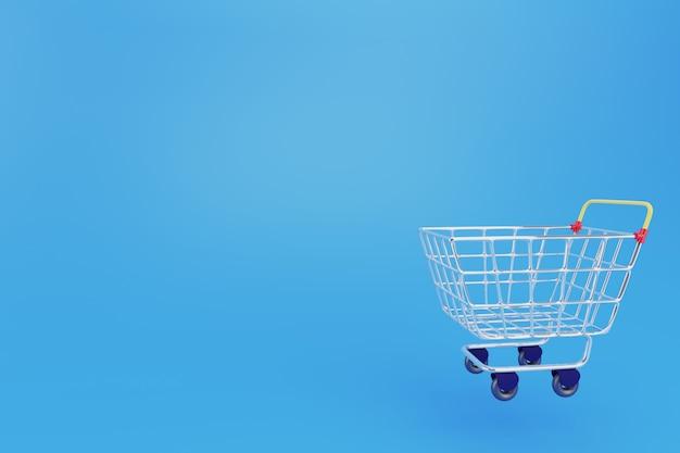 3d-stijlvolle winkelwagen trolley op blauwe achtergrond. online winkelconcept of koop het nu sjabloon