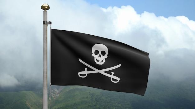 3d, stoffentextuur van de piratenschedel met sabelsvlag die in wind bij berg golven. calico jack piratensymbool voor hacker en rover concept. realistische vlag van pirates zwart op het golvende oppervlak