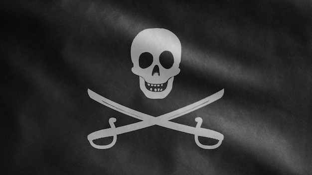 3d, stoffentextuur van de piratenschedel met sabelsvlag die in wind golven. calico jack piraat symbool voor hacker en dief concept. realistische vlag van piraten zwart op golvend oppervlak