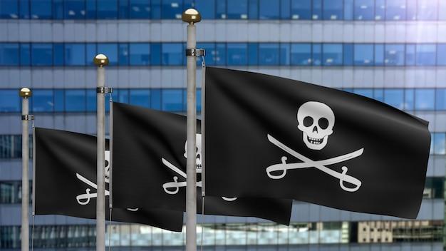 3d, stoffentextuur van de piratenschedel met sabelsvlag die in wind golven. calico jack piratensymbool voor hacker en rover concept. realistische vlag van pirates zwart op het golvende oppervlak