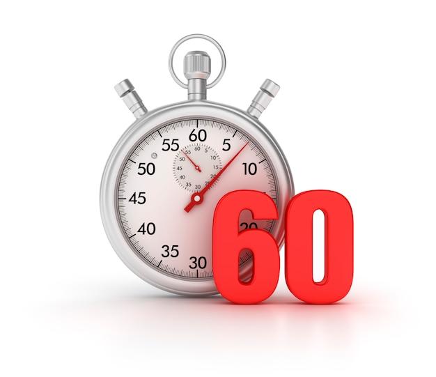 3d-stopwatch met nummer 60