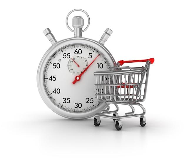 3d-stopwatch met winkelwagen