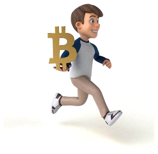 3d stripfiguur grappige tiener met bitcoinsymbool