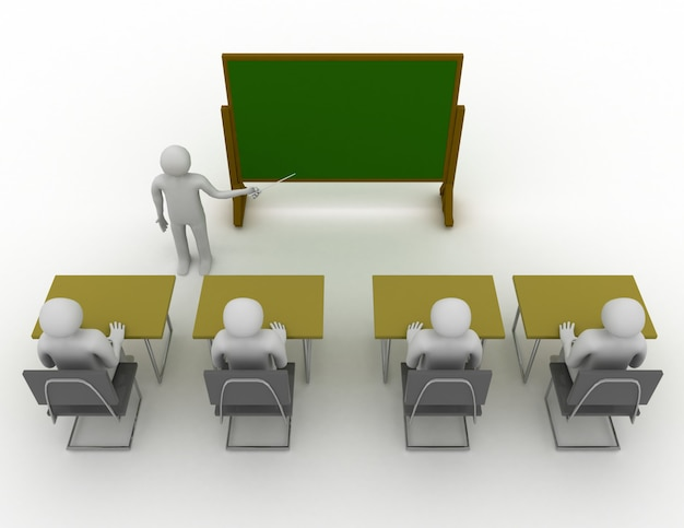 3d studenten in schoolconcept. 3d-gerenderde afbeelding