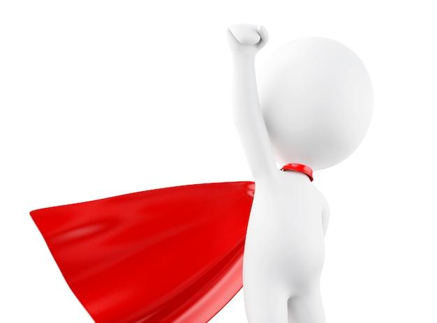 3d super held met rode cape.