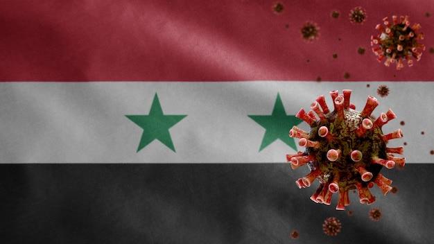 3d, syrische vlag wappert met uitbraak van coronavirus die het ademhalingssysteem infecteert als gevaarlijke griep. influenza-type covid 19-virus met nationaal syrië-sjabloon dat op de achtergrond blaast.