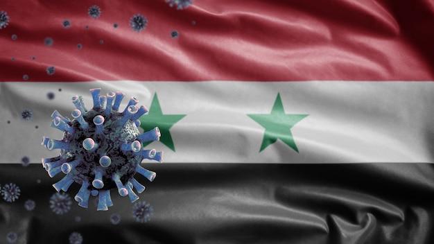 3d, syrische vlag zwaaien en coronavirus 2019 ncov-concept. aziatische uitbraak in syrië, coronavirussen influenza als gevaarlijke gevallen van griepstammen als een pandemie. microscoopvirus covid 19