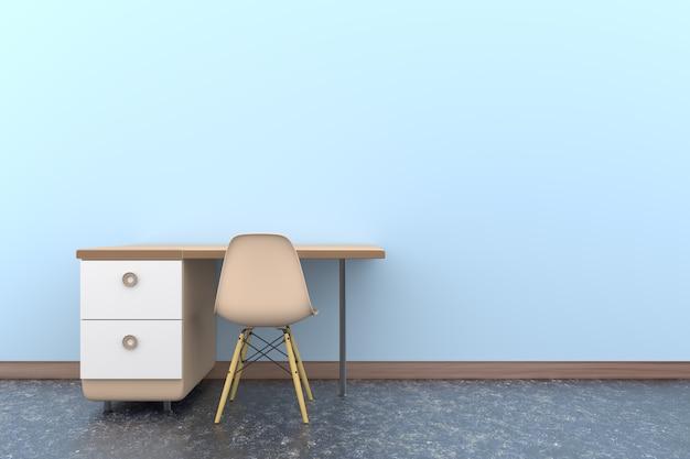3d-tafel stoel kantoor achtergrond
