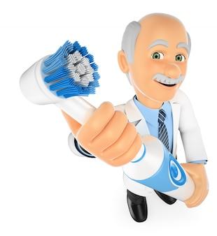 3d-tandarts met een elektrische tandenborstel