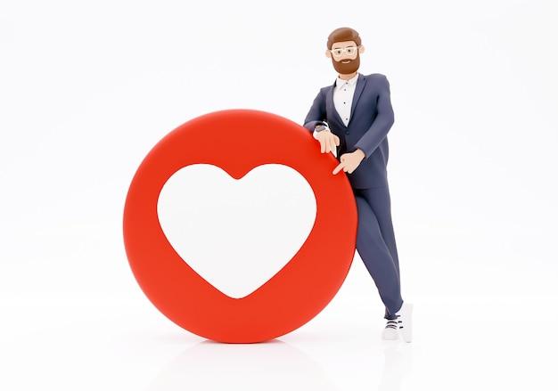 3d-teken zakenman met liefde emoji op witte achtergrond sociaal netwerk concept. 3d render illustratie.