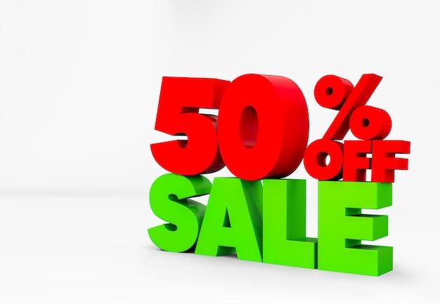 3d-tekst 50% kortingsteken